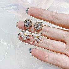 MENGJIQIAO New Korean TV Star Shiny Crystal Flower Petal Drop Earrings For Women Fashion Zircon Pendientes Jewelry Accessories