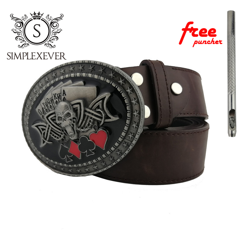 Skull Belt Buckle Western Belt Buckle With Leather Belt Men's Jeans Accessories Suitable For 4cm Width Belt Drop Shipping