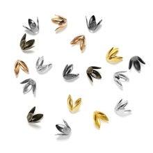 Lote de 100 unidades de tapas de cuentas de pétalos de Metal y flores de Color dorado, cuatro hojas, tazas de cuentas para fabricación de joyas