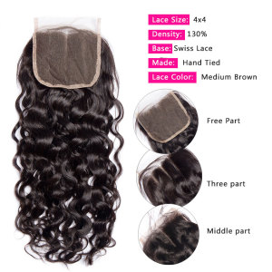 Image 3 - Alibele Hair Malaysian Water Wave Bundles with Closure 100 Remy Human Hair Bundles With Closure Remy Hair 3 Bundles With Closure