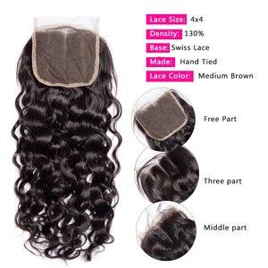 Image 3 - Alibele Hair malezyjski Water Wave zestawy z zamknięciem 100 Remy wiązki ludzkich włosów z zamknięciem Remy włosy 3 zestawy z zamknięciem