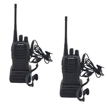2pcs/lot BAOFENG BF-888S Walkie talkie UHF Two way Radio Baofeng 888s UHF 400-470MHz 16CH Portable Transceiver with Earpiece 1