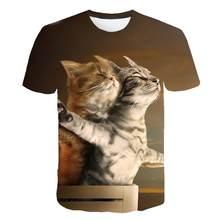 2019 nova Cool T-shirt Dos Homens/Mulheres 3d camiseta Imprimir dois gato Verão de Manga Curta Tops Tees engraçado T camisa Masculina S-6XL