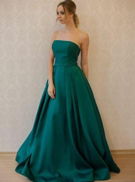 Simples vestido de baile de formatura a linha strapless trem varredura verde escuro cetim sem mangas vestido de baile para festa