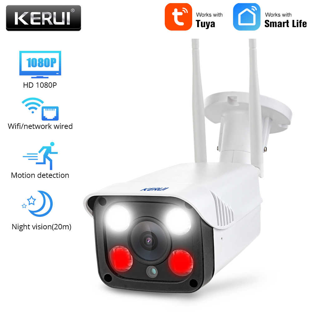 Kerui 2.0MP 1080P Tuya Kehidupan Cerdas Nirkabel Outdoor Keamanan WIFI IP Camera Full HD IP66 Tahan Air Pengawasan CCTV Kamera
