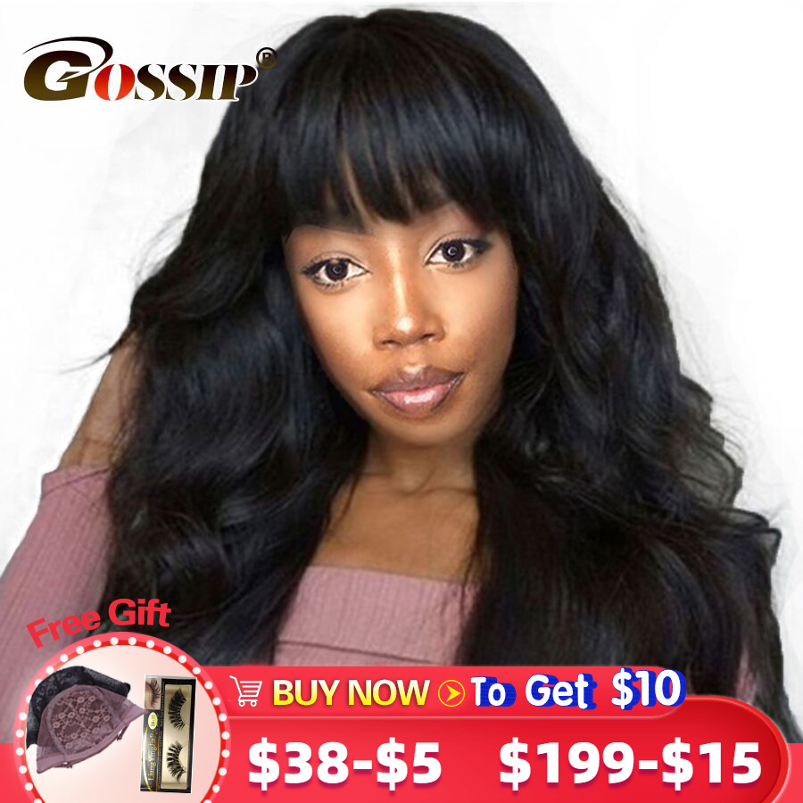 Pre Plucked 360 Wigs With Bangs Glueless Lace Frontal Wig Human Hair Brazilian Body Wave Lace Wig With Bangs For Women Remy Hair
