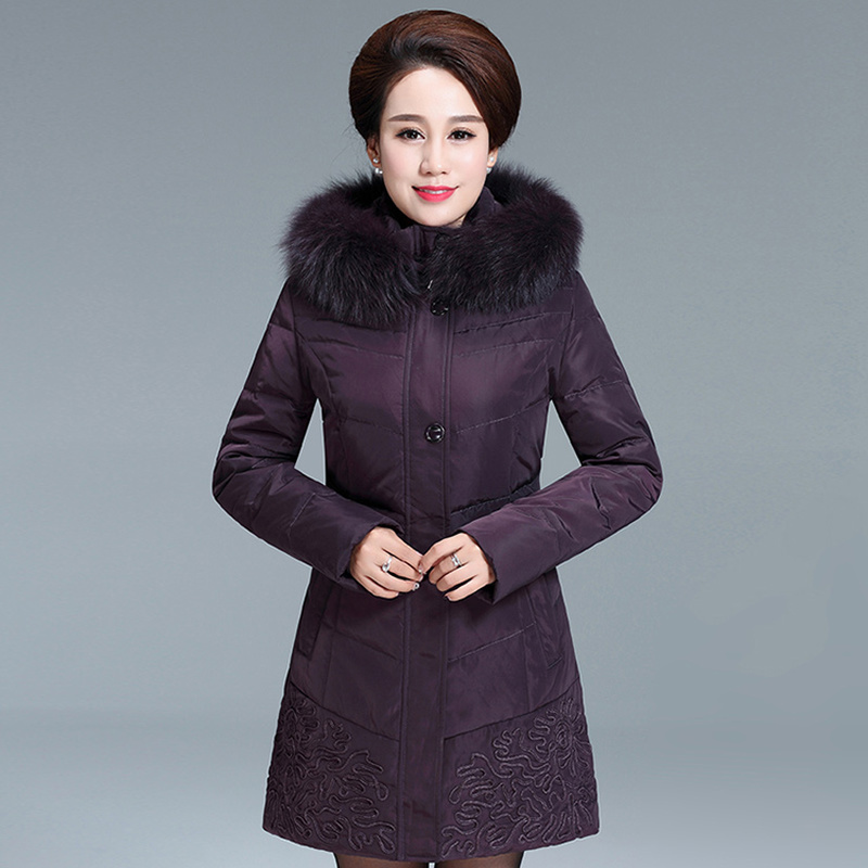 Size Plus Women's Duck Down Jacket Long Winter Coat Fox Fur Collar Jackets For Elderly Women Parkas Chaqueta Mujer KJ483 S