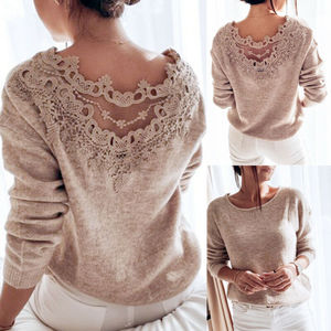 Autumn Sexy Elegant Lace Stitching Backless Pullover Sweater Women's Clothes Long Sleeve Jumper Top Knitted Sweater Bodycon