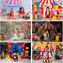 Circus Theme Birthday Party Backdrop Newborn Children Portrait Photography Background Circus Carnival Baby Shower Photocall Prop