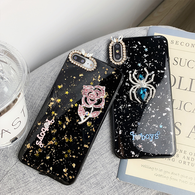 Hand studded Epoxy Platinum Phone Case for iPhone X XS 8 7 6 6S Jewelry Soft Shell Drop Protection Back Cover in Fitted Cases from Cellphones Telecommunications