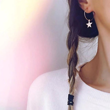 Silver Star Pendant Earrings Bohemian Style Womens Simple New Fashion Manifesto Jewelry Wholesale