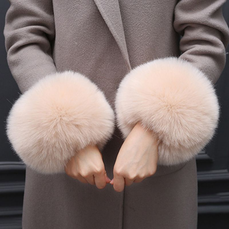 Faux Rabbit Fur Thicken Women Winter Warm Wrist Gloves Fake Cuff Oversleeve Arm