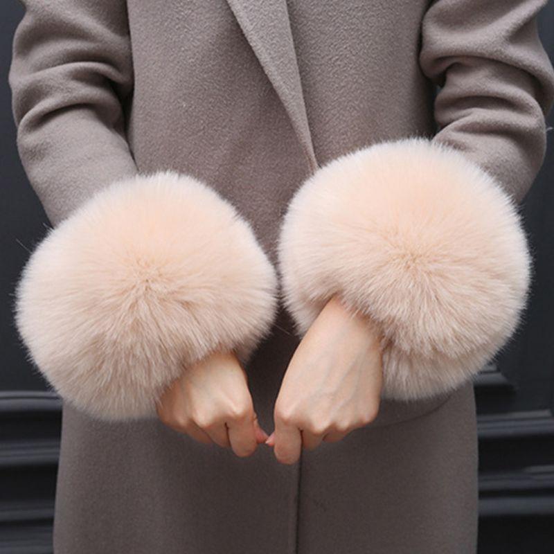 Faux Rabbit Fur Thicken Women Winter Warm Wrist Gloves Fake Cuff Oversleeve Arm