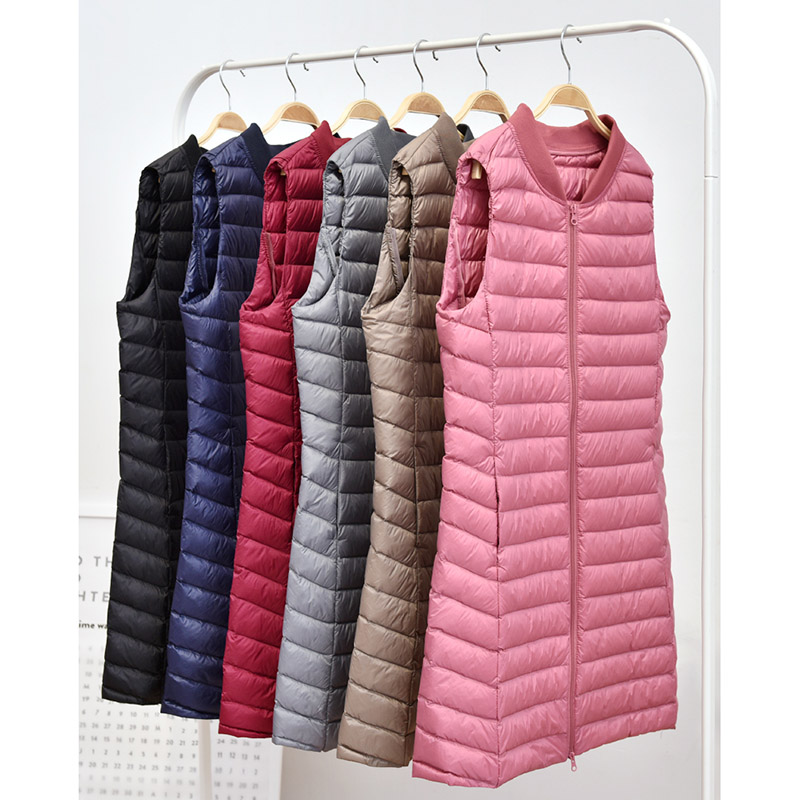 Navy Blue Coats Women Ultra Light Down Vest Casual Baseball Long Slim Jacket Autumn Winter Bottoming Gilet New Arrival Womens