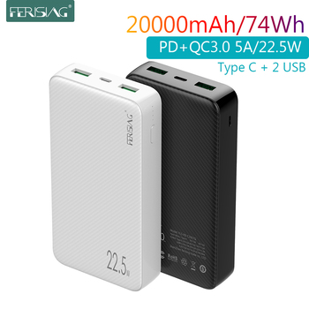 FERISING 20000mAh SCP 5A Power Bank 22.5W USB Type C External Battery Charger 20000 mah Quick Charge 3.0 PD Powerbank Mi banks