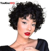 Short Curly Wigs For Black Women Cheap Pixie Cut Human Hair Wigs With Bangs Non Lace Machine Made Wig Black Color Brazilian Hair