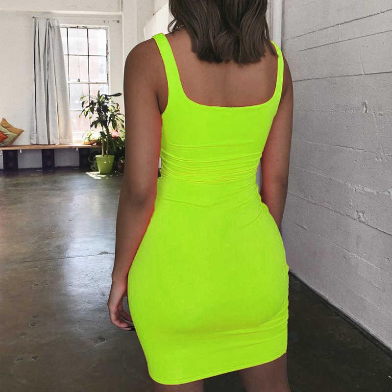 オフショルダーミニボディコン夏ドレスの女性の背中クラブパーティーセクシーなラップネオンドレスプラスサイズ vestidos ドロップ無料