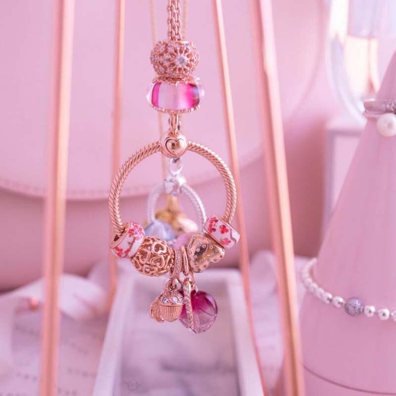 925 Sterling Silver charms Sparkling Leaf Flower Dangle Charms fit Original Pandora Bracelets Women DIY Jewelry