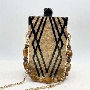 Image 2 - New Fashion Designer Geometry Splice Print Acrylic Evening Clutch Bags  Unique Personality Women Shoulder Bag Handbags Wallet