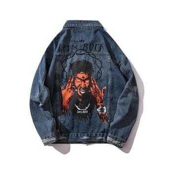 Veste en Jean pour hommes Hip Hop Let's Rock Demon