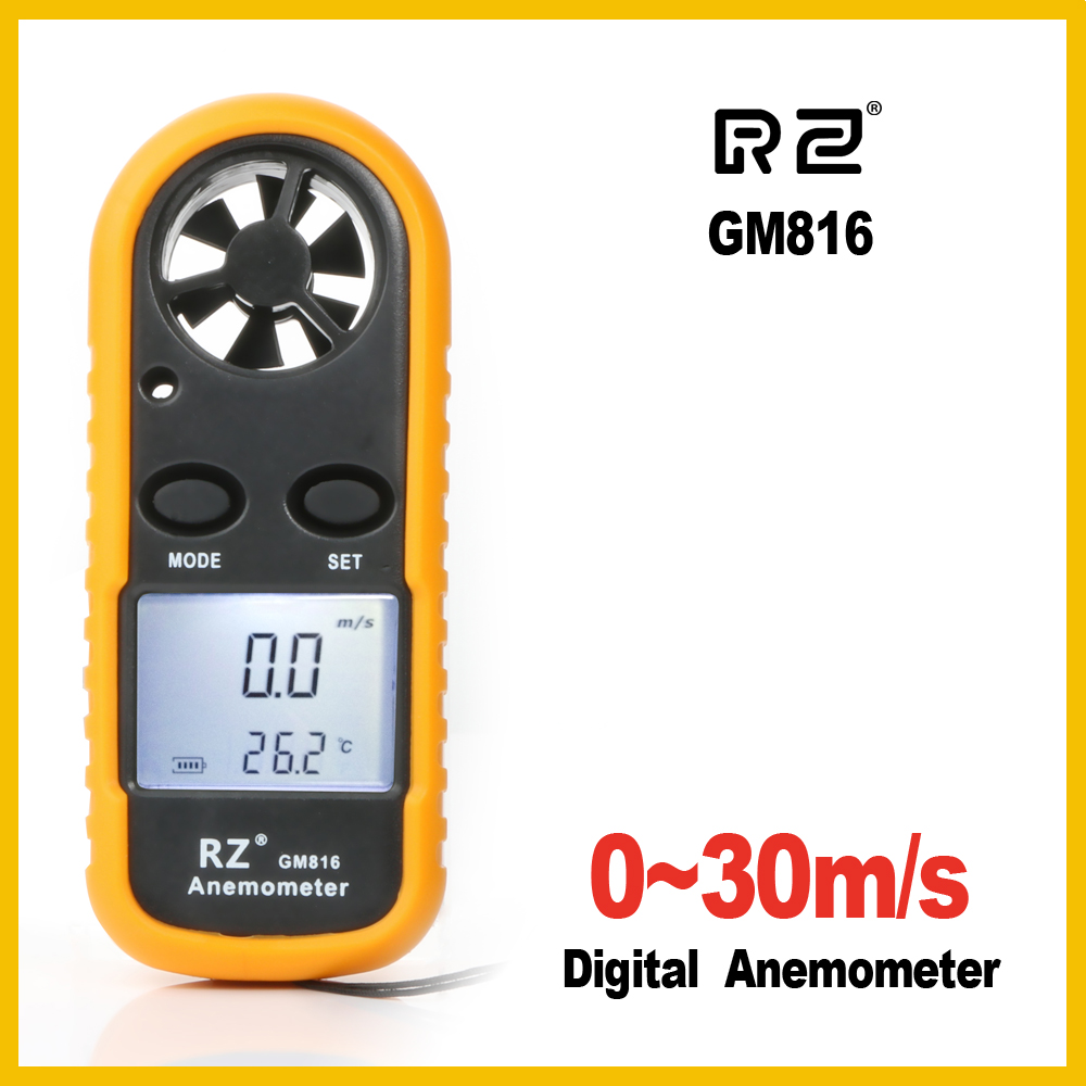 RZ Anemometer Portable Anemometro Thermometer GM816 Wind Speed ​​Gauge Meter Windmeter 30m / s LCD Digital Hand-anemometer