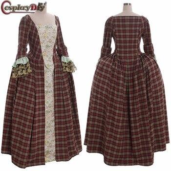 Cosplaydiy Outlander Claire Randall Fraser Dress Victorian Women Georgian Halloween Cosplay Costume Custom Made
