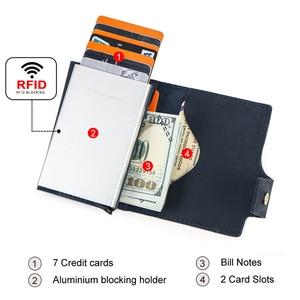 Image 3 - 연락처 빈티지 신용 카드 홀더 차단 미친 말 가죽 카드 지갑 남여 보안 정보 알루미늄 지갑 RFID