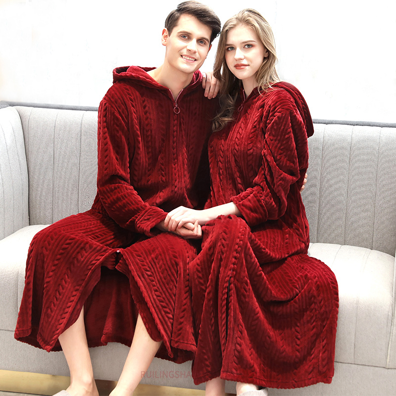 Women Winter Plus Size Long Warm Flannel Bathrobe Bride Cozy Hooded Bath Robe Pregnant Zipper Night Dressing Gown Men Sleepwear