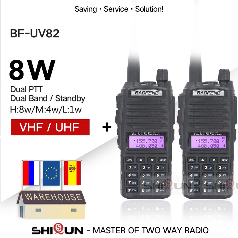2pcs Baofeng UV-82 Walkie Talkie 8W Radio UV 82 Dual PTT Two Way Radio Tri Power Dual Band Dual Display Radio 10 KM Baofeng UV82