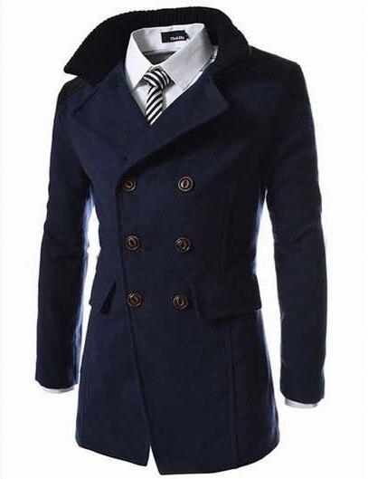 2019 hiver hommes long manteau de laine à double boutonnage fil revers coupe-vent veste vêtements pour hommes épissure noir bleu gris