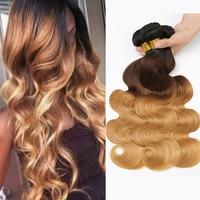 Ombre Hair Bundles Body Wave Bundles T1B/4/27 Brazilian Hair Weave Bundles 3 Tone Blonde Human Bundles Hair Mslynn Remy Hair
