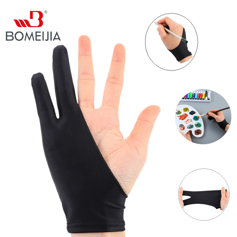 1Pc Drawing Painting Pen  Household Gloves Two Finger Anti-fouling Glove For Artist Right Left Hand Black Glove Free Size