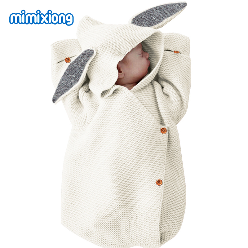 2019 Newborn Baby Rabbit Ears Hooded Button Knitting Sleeping Bag Baby Quilt Air Conditioner Quilt Envelopes  Newborn  75*35