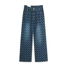 Harajuku Jeans Women Straight 2020 Autumn Winter Cute Moon Print High Waist Casual Blue Cotton Jeans Grunge Streetwear