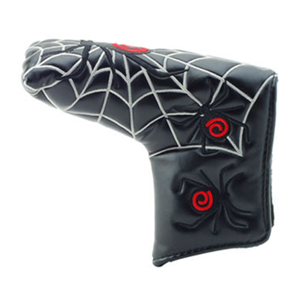 PU Leather Protective Magic Sticker Thumb Outdoor Golf Putter Cover Headcover Cartoon Blade Accessories Club Portable Spider Web