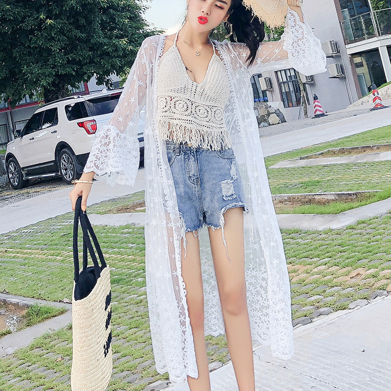 Seaside Beach Jacket 2019 Summer New Style Embroidery Lace Cardigan Loose-Fit Mid-length Coat Women's Thin Coat