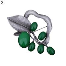 Women\'s Vintage Leaf Shape Breastpin Charm Stone Country Style Collar Brooch Pin Stylish sweet gift for girlfriend(China)