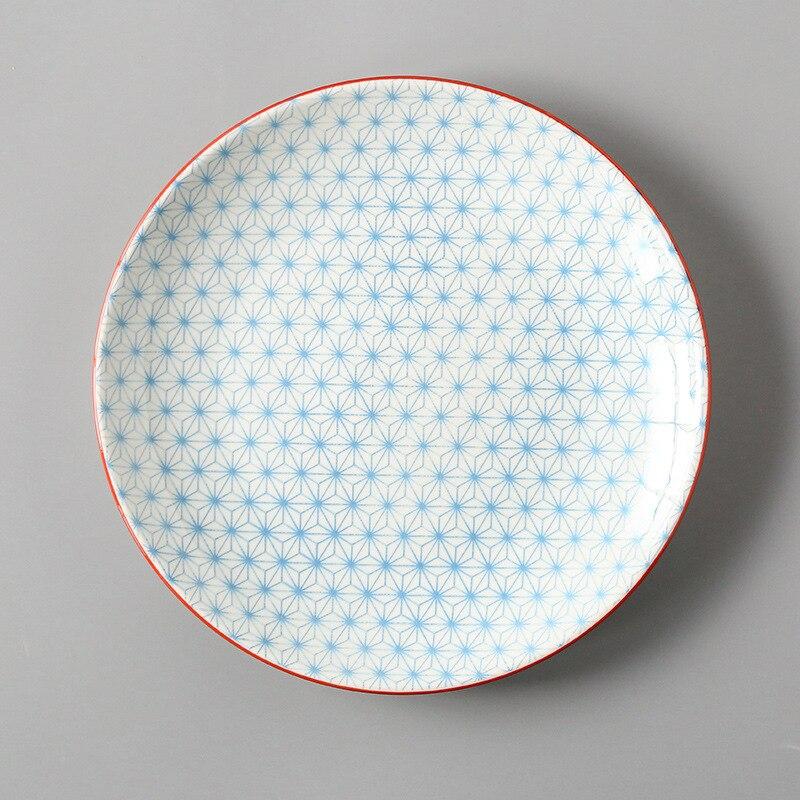 Креативный японский стиль 8 керамическая тарелка дюймовая посуда для завтрака говядины десертное блюдо для закусок простое мелкое блюдо домашнее блюдо для стейков - Цвет: 12