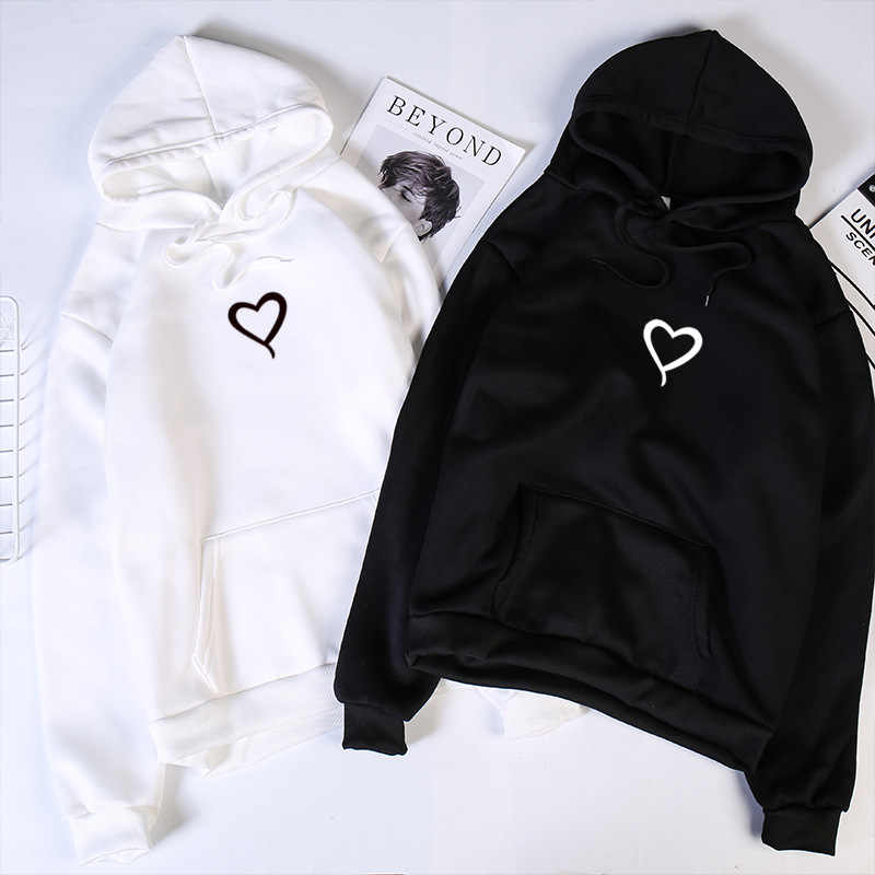 Heart Hoodies Sweatshirts 2019 여성 캐주얼 카와이 하라주쿠 여성용 의류 용 새 스웨터 펑크 유럽 Top Korean sudadera mujer