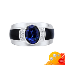 Men Ring Open-Finger-Rings Oval Gemstone Sapphire Wedding-Promise 925-Silver Jewelry-Accessories