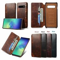 Simple Genuine Leather For Samsung Galaxy S10 Plus S10 E S9 Note 9 Case Vintage Oil Wax Cowhide Wallet Flip Shockproof