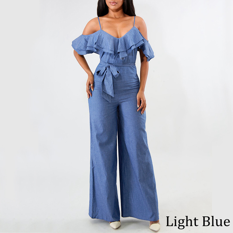 VONDA Women Playsuits 2019 Summer Rompers Sexy Club Demin Overalls Female Loose Wide Leg Long Pants Plus Size S-5XL Trousers