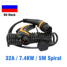 32A EV charging cable J1772 Type 1 to Type 2 IEC 62196 2 EV Charging Plug With 5M Spiral cable TUV/UL for electric vehicle