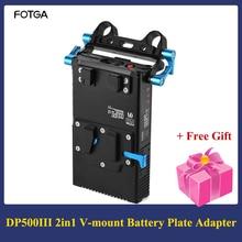 FOTGA DP500III 2 en 1 v mount cargador adaptador de placa de batería 15mm Rod Clamp para Canon Nikon Sony cámara vídeo Estudio de disparo