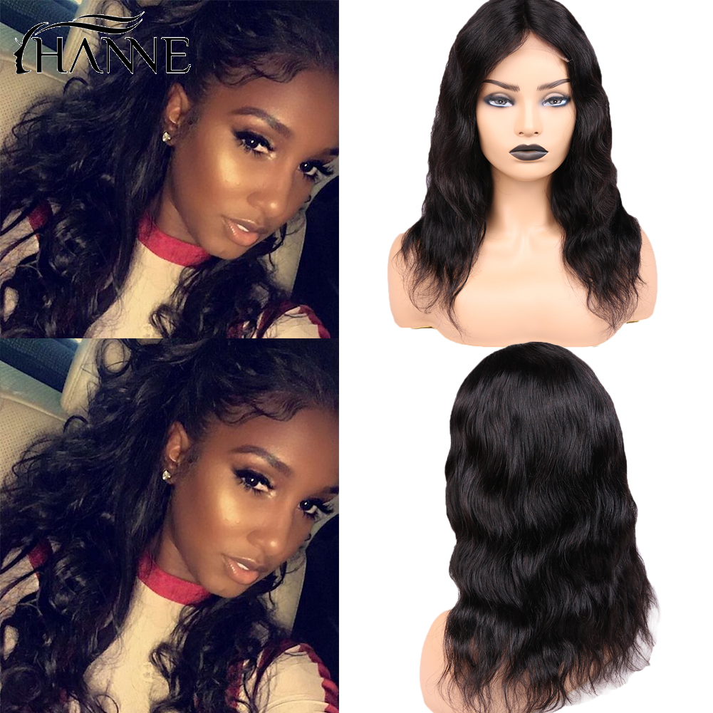 Short 4*4 Lace Closure Wig Remy Natural Wave Lace  L/M/R 3 Part Human Hair Wigs For Women 150% Density Natural Color HANNE