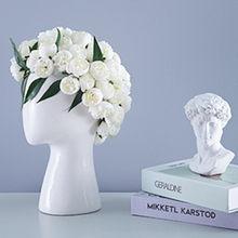Novo modelo de cerâmica com cabeza humana, retratado creativo, arreglo floral de agujero redondo, adornos decorativos,