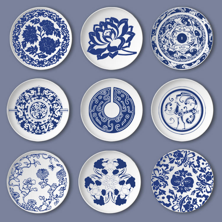 JBlue and white ceramic hanging plate Creative Dish Ceramic Dish Plate Hanging Wall Hanging Decorative Plate|Bowls & Plates| |  - title=