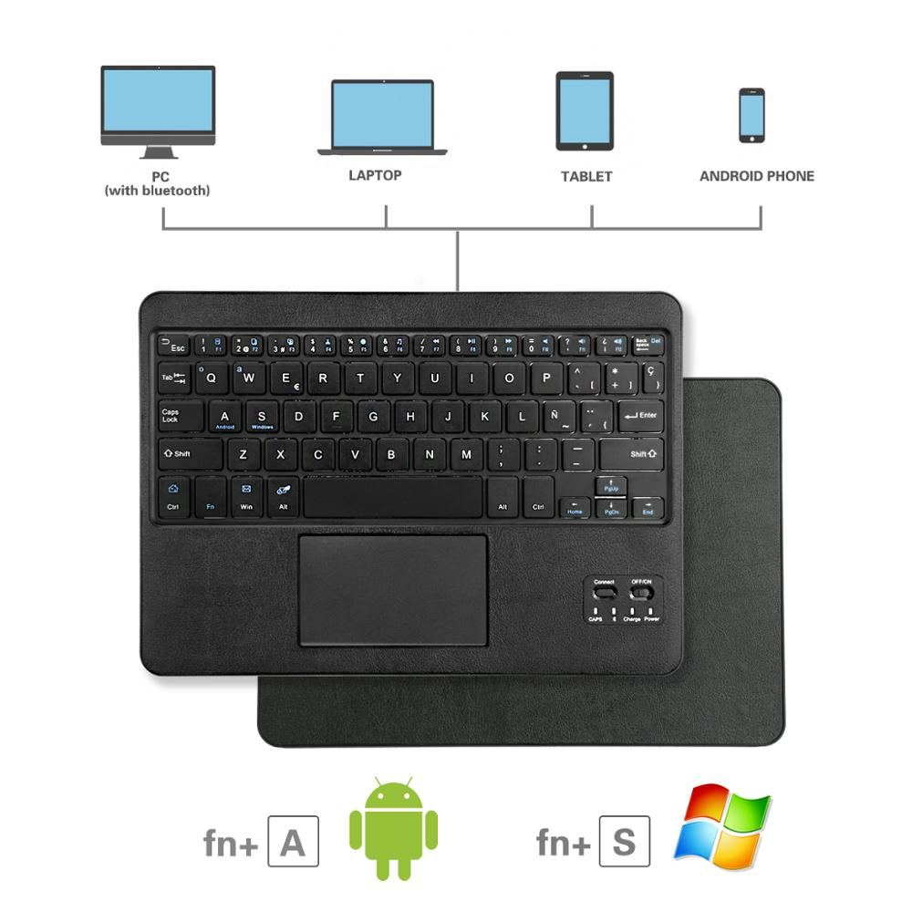 10 Inch Wireless Bluetooth Keyboard With Touchpad QWERTY AZERTY Uninversal For Windows & Android System Tablet