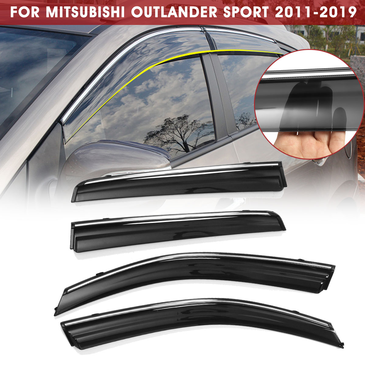 4pcs Out-Channel Visor Rain Guards For Mitsubishi Outlander 2016-2018