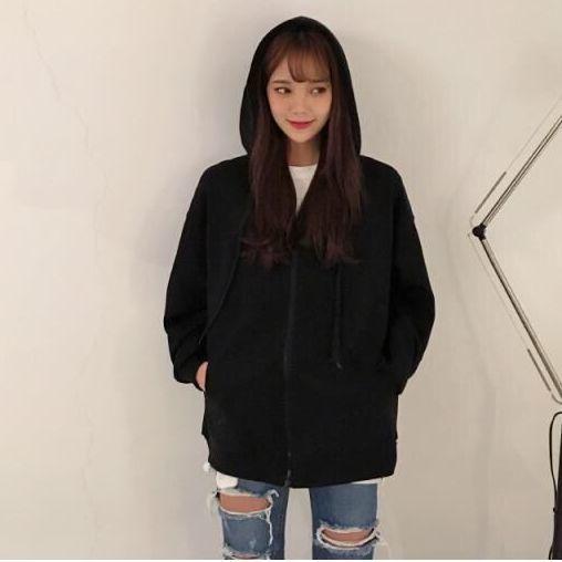 Harajuku with hat hoodies women zipper kangaroo pocket casual loose solid color sweatshirt female 2020 fashion new female tops 17
